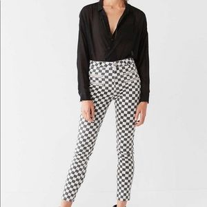 Urban Twig High Rise Checkered Moto Jeans